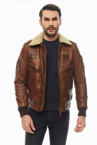 Кожаная куртка мужская Aeronautica Militare PN9081839 00006 коричневая 52 IT