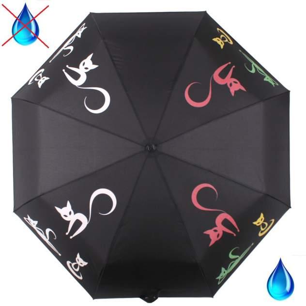 Зонт складной женский автоматический Flioraj 210201 FJ черный