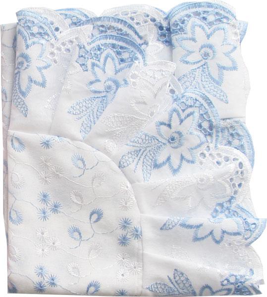 Уголок Папитто кружевное полотно с шитьем Голубой