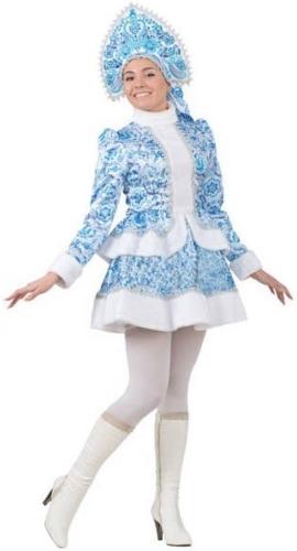 Карнавальный костюм Батик Снегурочка, цв. голубой р.172