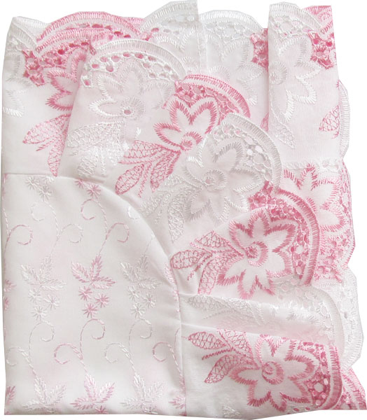 Уголок Папитто кружевное полотно с шитьем Розовый