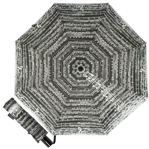 Зонт складной женский автоматический Emme Е/ M444-OC/Notes белый/черный
