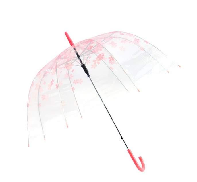 Зонт-трость женский механический BRADEX SU 0045 прозрачный/розовый
