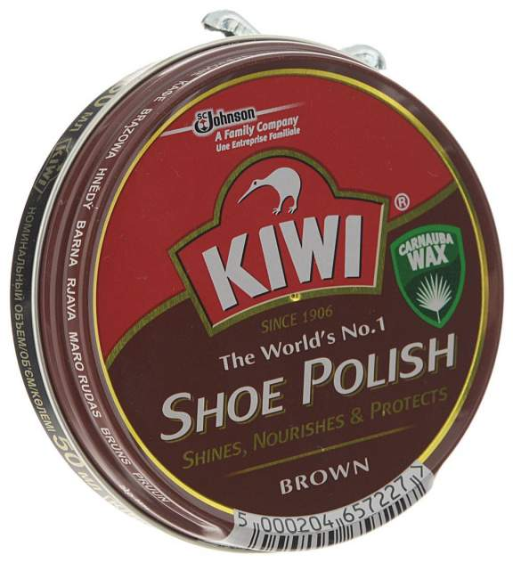 Крем для обуви Kiwi shoe polish коричневый