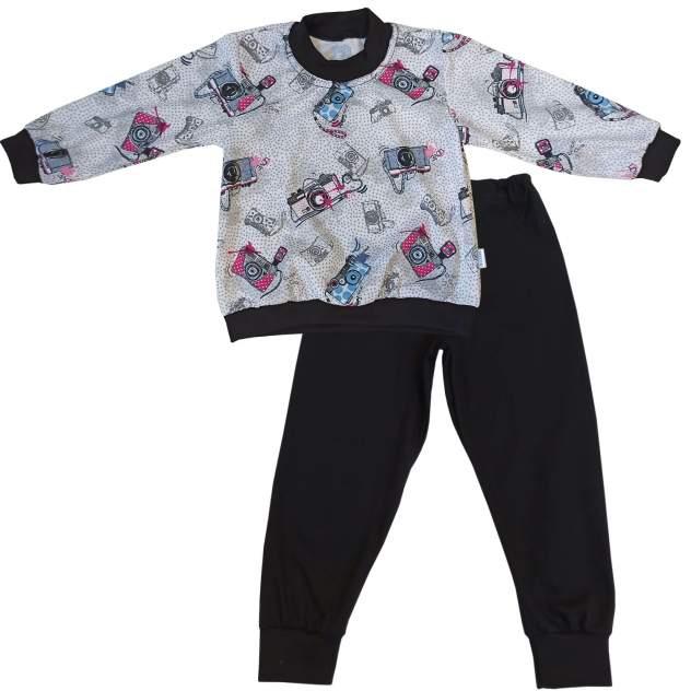 Пижама детская Папитто, цв. серый; черный р.92