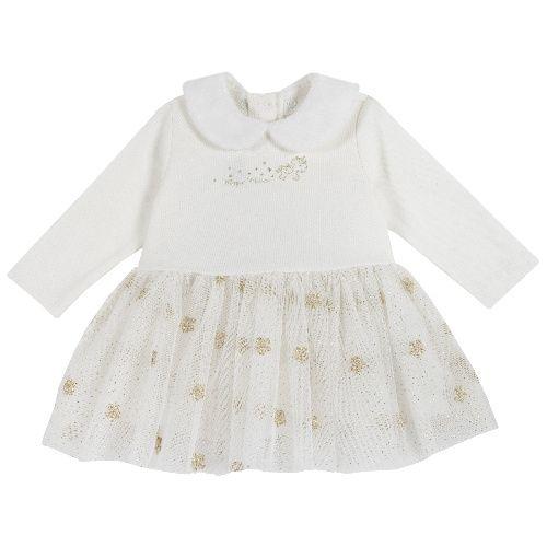 Платье детское Chicco длинный рукав р.80 цв.белый
