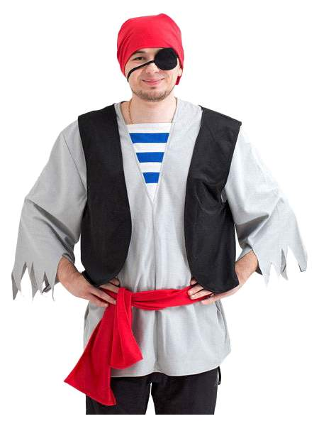 Карнавальный костюм Бока Пират, цв. серый р.180