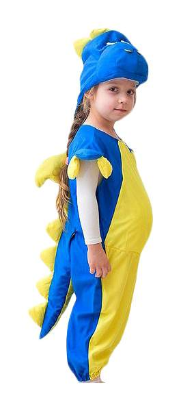 Карнавальный костюм Бока Дракон, цв. желтый; синий р.104