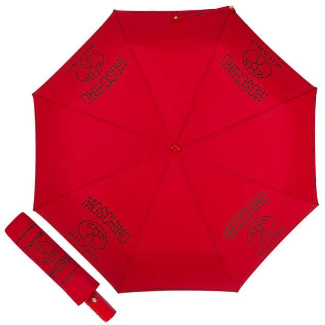 Зонт складной женский автоматический MOSCHINO 8012-OCC красный