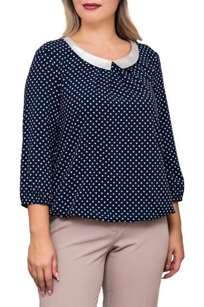 Блуза женская Balsako ГОРОХ С ВОРОТНИКОМ синяя 52 RU