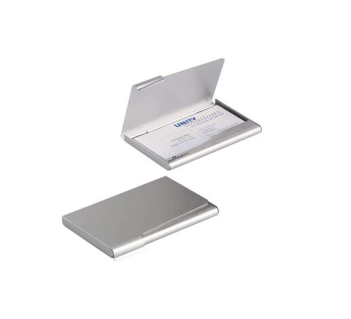 Визитница карманная Durable 2415-23 на 20 визиток, алюминиевая