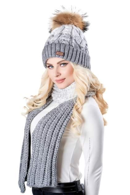 Комплект (шапка+шарф) женский Jagga 1360 серый ONE SIZE