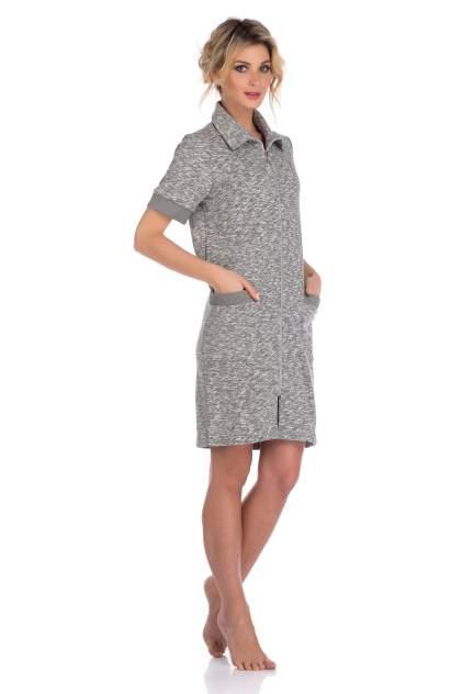 Женский оригинальный халат из плотного трикотажа Peche Monnaie L'étincelle 395, серый, S