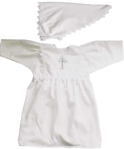 Крестильное платье Папитто для девочки с косынкой р.68-74 1204