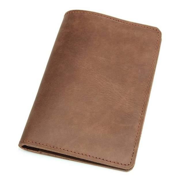 """Обложка для паспорта из натуральной винтажной кожи """"Кошелькофф"""" коричневая 8435BN"""