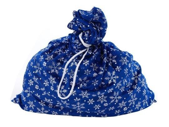 Мешок Деда Мороза синий со снежинками Батик m-4