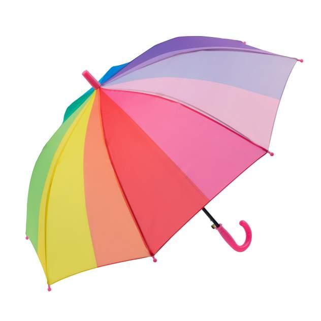 Зонт детский Diniya для мальчиков и девочек Радужный с прямой кромкой, розовая ручка