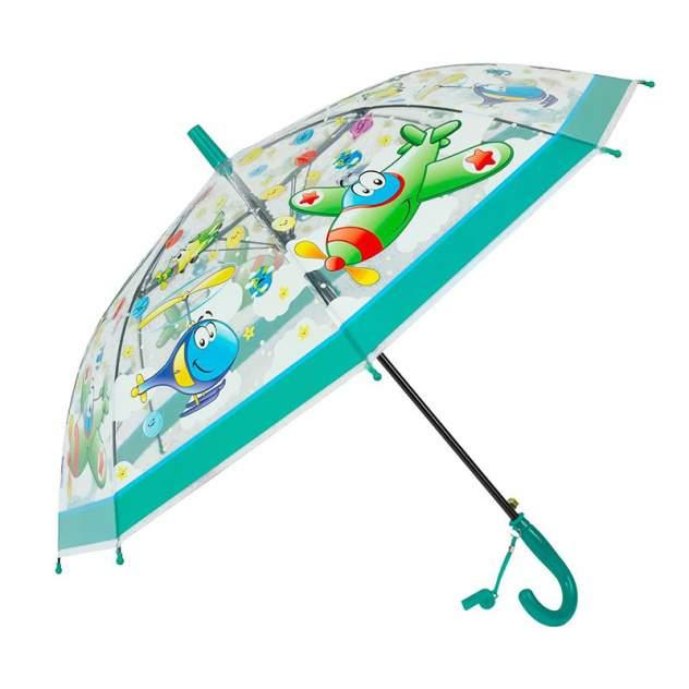 Зонт детский Diniya для мальчиков Транспорт со свистком с зеленой ручкой