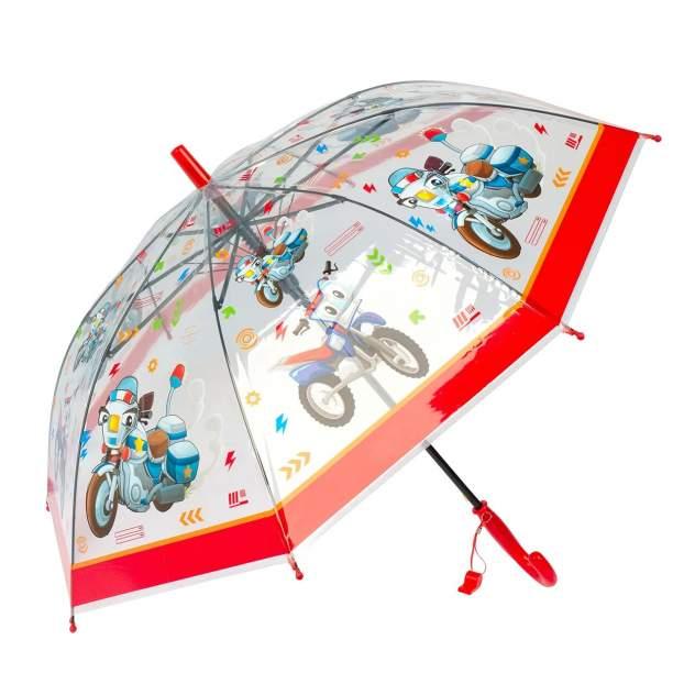 Зонт детский Diniya для мальчиков Транспорт со свистком c красной ручкой
