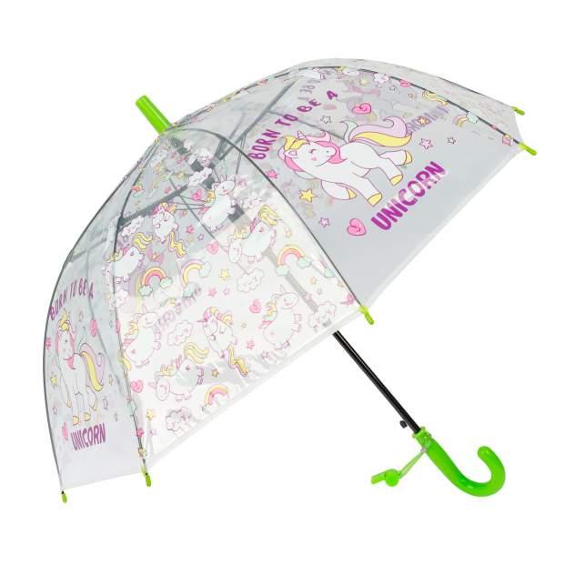 Зонт детский Rain Lucky для девочек Единороги со свистком, зеленый