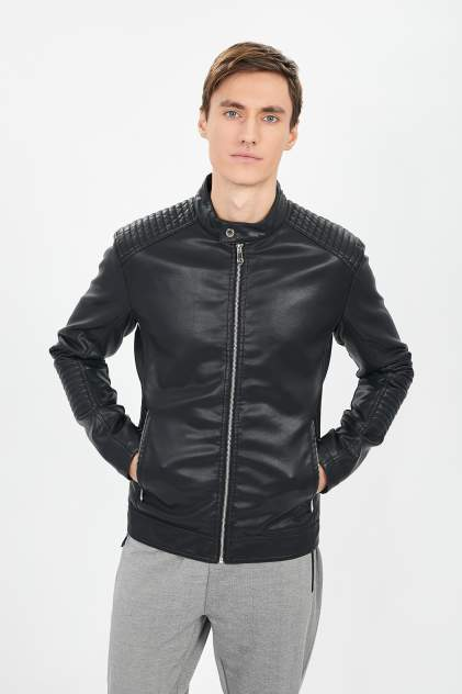 Кожаная куртка мужская Baon B601018 черная 3XL