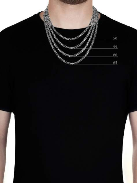 Цепочка мужская TOP CRYSTAL 40362550К Бисмарк из серебра, 60 см