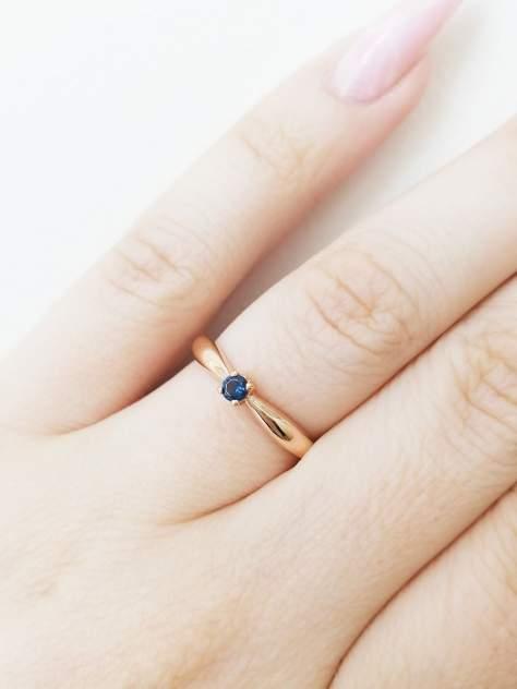 """Кольцо женское """"Капелька""""  SamoroDki Jewelry с Нано сапфиром из серебра золочение р.15.5"""