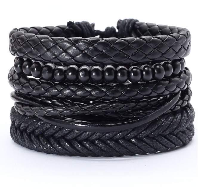 Браслет кожаный Punk Rock 45491-01 черный