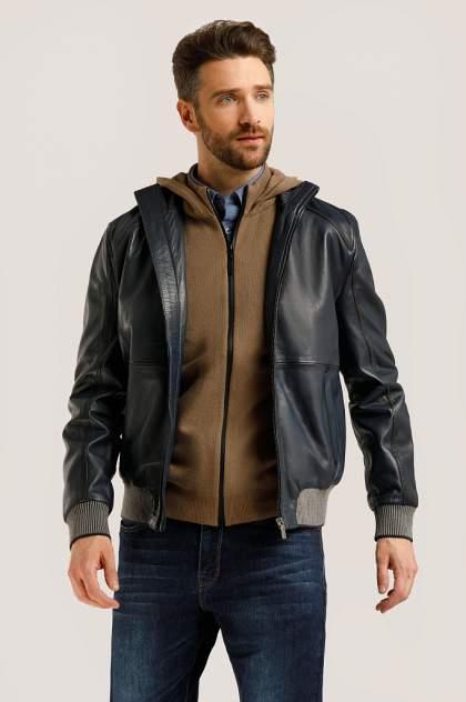 Кожаная куртка мужская Finn Flare B20-21805 синяя 3XL