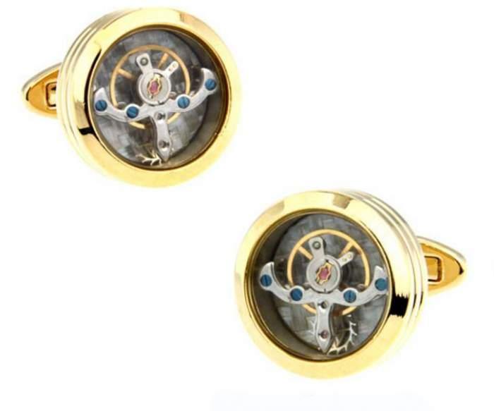 Запонки мужские 2beMan ZP172 золотистые
