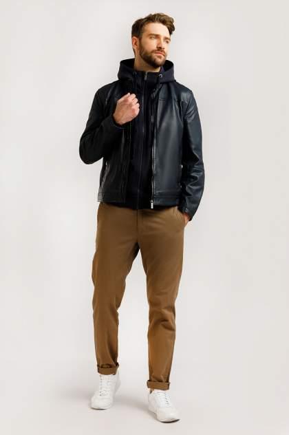 Кожаная куртка мужская Finn Flare B20-21804 синяя 3XL