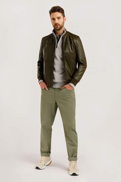Кожаная куртка мужская Finn Flare B20-21803 зеленая 2XL