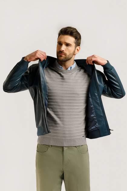 Кожаная куртка мужская Finn Flare B20-21803 голубая 2XL