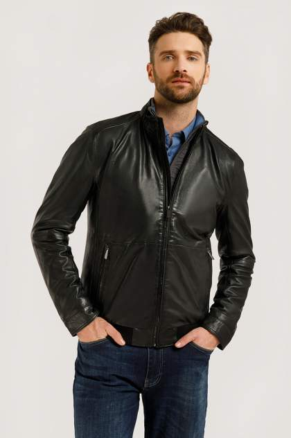 Кожаная куртка мужская Finn Flare B20-21801B черная 4XL