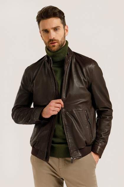 Кожаная куртка мужская Finn Flare B20-21801 коричневая 2XL