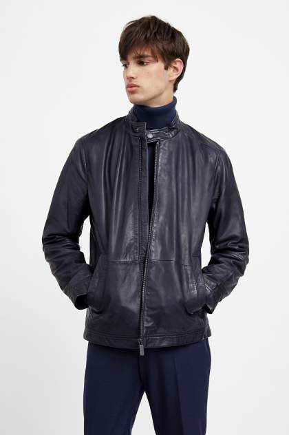Кожаная куртка мужская Finn Flare A20-21800 синяя XL