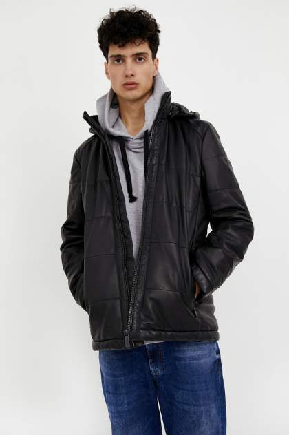 Кожаная куртка мужская Finn Flare A20-21803 черная L