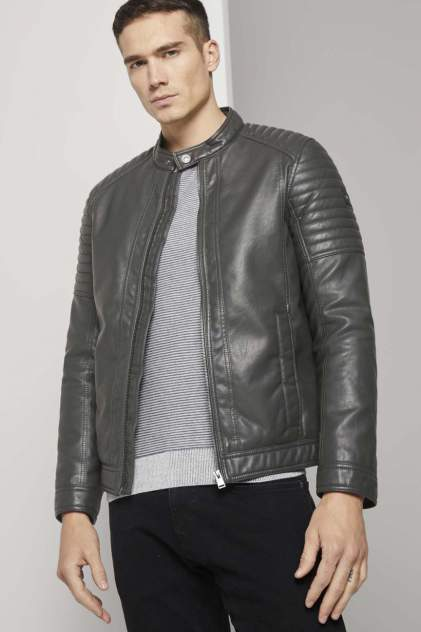 Кожаная куртка мужская TOM TAILOR 1023172 серая 46 RU