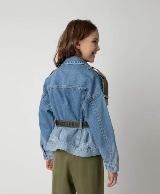 Куртка джинсовая с поясом Gulliver цв. голубой 134