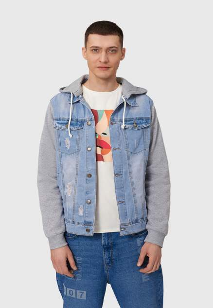 Джинсовая куртка мужская Modis M202D00158T003M голубая 56 RU
