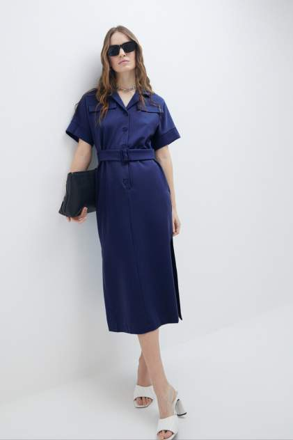 Платье-рубашка женское ZARINA 1123001501 синее 46