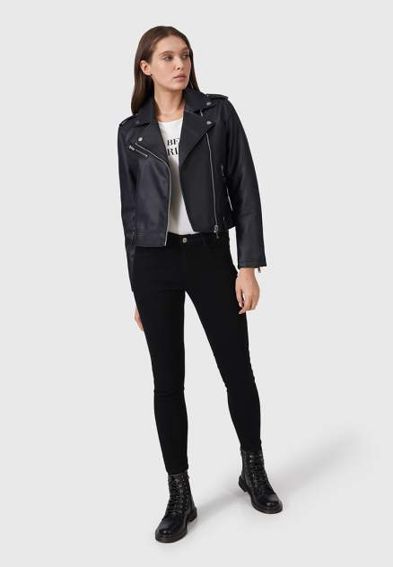 Кожаная куртка женская Modis M211W00327S642F76 черная 48