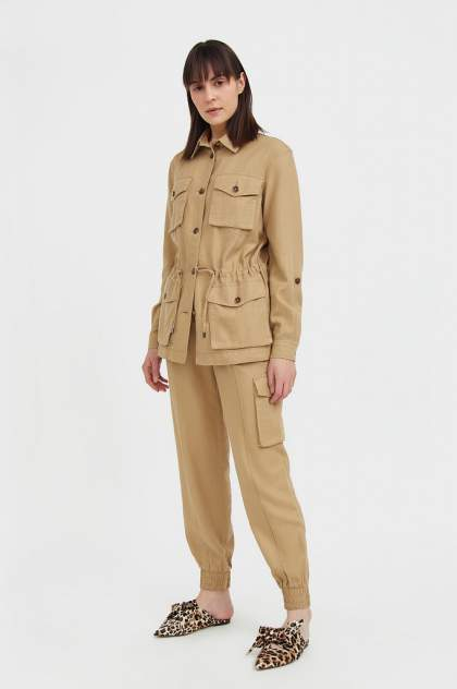 Женские брюки Finn Flare S21-12076, бежевый