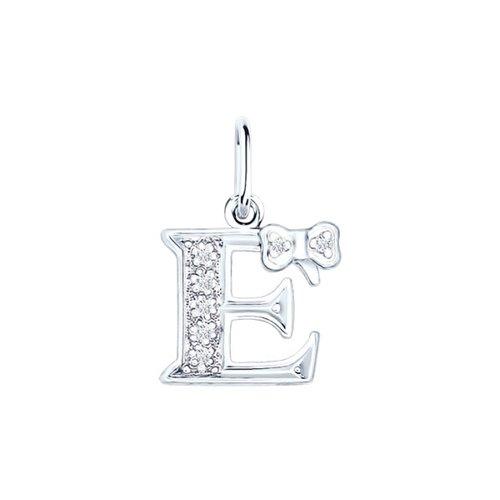 Серебряная подвеска-буква «Е» SOKOLOV 94030473