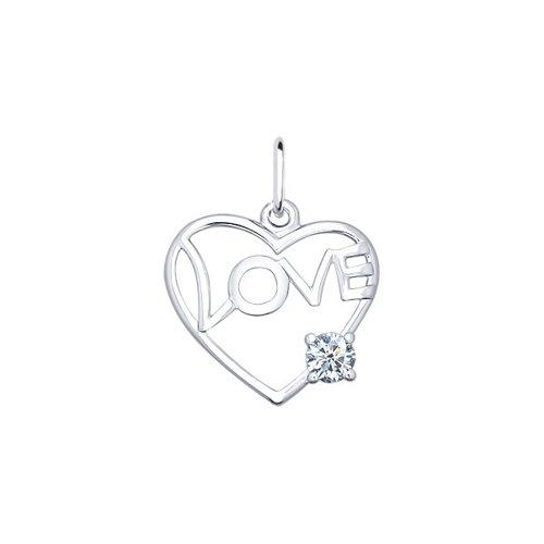 Подвеска «Love» с фианитом SOKOLOV 94030675