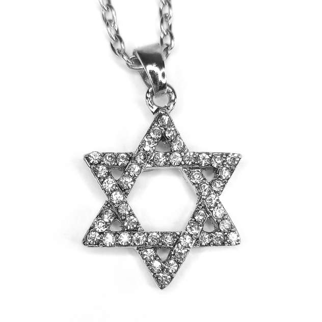 Кулон World of Judaica с цепочкой звезда Давида с инкрустацией WOJ-NECK-04 серебристый