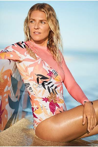 Купальник Roxy Pop Surf UPF 50, bright white nirantara, XL