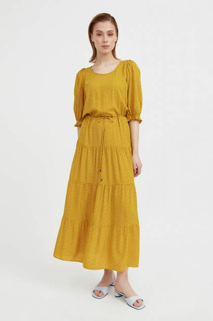 Повседневное платье женское Finn Flare S21-110103 желтое L