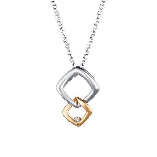 Колье из серебра с бриллиантом 40 см АЛЬКОР 06-1668/000Б-00