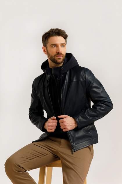 Кожаная куртка мужская Finn Flare B20-21804 синяя 54